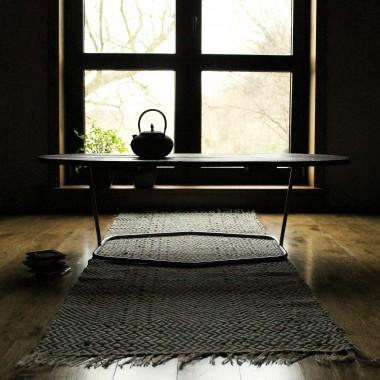 Stół Drewno, stal polerowana