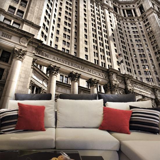 Pozostałe, Dekoracje z Nowym Jorkiem - Piękne ujęcie budynku w sepii - idealna ozdoba ściany.