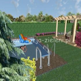 projekt ogródka przydomowego z basenem