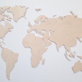 MAPA ŚWIATA 3D na ścianę drewniana naturalna 4 mm