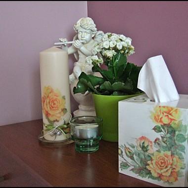decopage - komplet z różami do sypialni