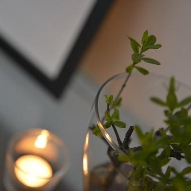 ...a z nią nieco kosmetyki, pokój dzienny przemalował się na biało, lewitujące regały zastapił zegar 2 w 1 , a propos regały szukaja chętnego, z okien pozbyłam się w końcu pasiastych rolet, teraz są gładkie szare, mniej bodźców, skromna galeria i wiosenne zieleninki...napawam się tym spokojem:)