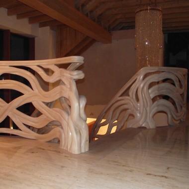 Balustrada ręcznie rzeźbiona.Realizacja, Legar-schody