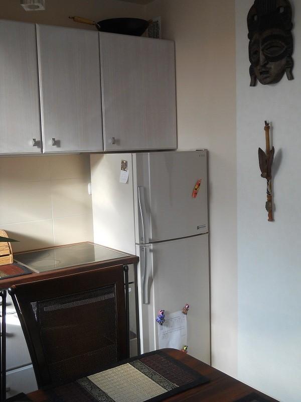 Pozostałe, Pomysł na małą kuchnię - Lodówka wciśnięta w meble :-)