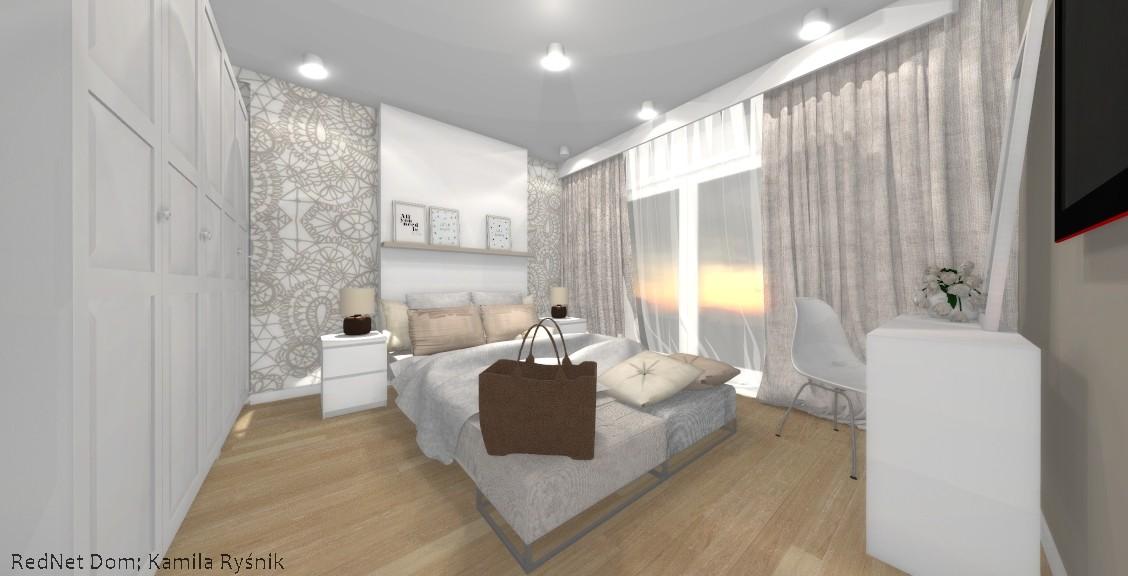 Architekci, Przytulne brązy w sypialni - Motywy floralne, brązy, beże, drewno, biel, ornament. Wszystko to zawarte jest w wizualizacji naszej wdzięcznej sypialni. Pomysł na tapetę za łóżkiem powstał z inicjatywy klientów, którzy lubują się w beżach i roślinnych wzorach. Zależało im również na ulokowaniu białej szafy z Ikei. Po kilku propozycjach, powstał projekt, który Ci oto przedstawiamy :) Nam podoba się ogromnie, a Tobie? :) Aranżację wykonały Kamila Ryśnik i Ania Szłapińska.