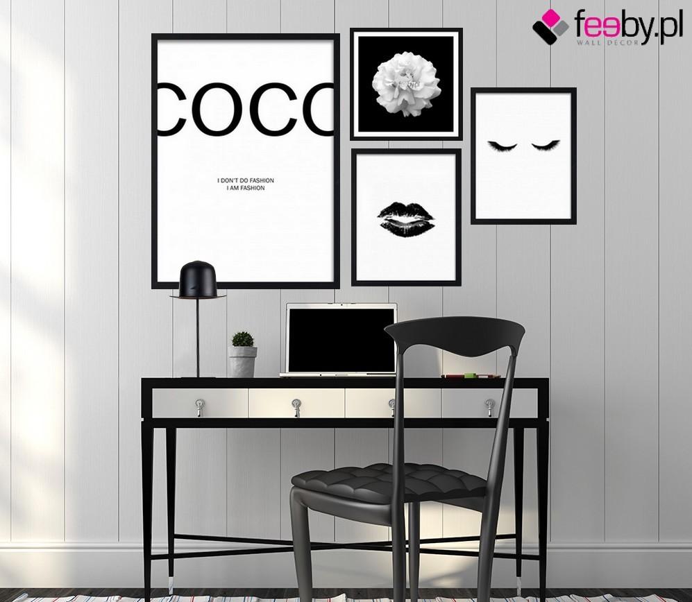 Pozostałe, Elegancja obrazów czarno białych - Dekoracja wnętrza z kobiecym akcentem - galeria obrazów czarno białych inspirowana osobą Coco Chanel. Styl nie przemija nigdy. źródło Feeby.pl