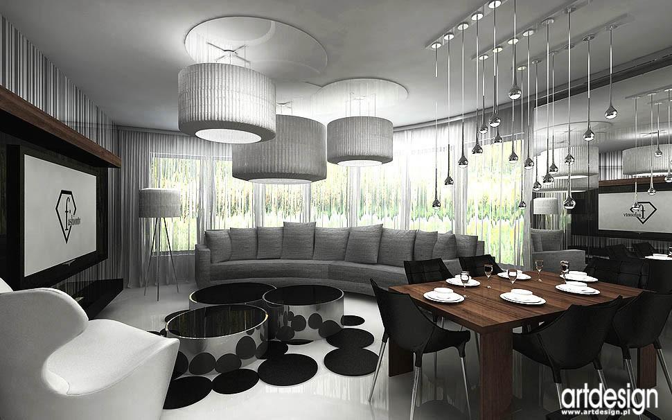 Pozostałe, apartament w Gdańsku - projekty wnetrza salonu