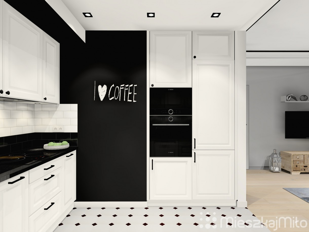 Salon, Projekt wnętrza przedpokoju, kuchni i salonu - Kuchnia otwarta na salon