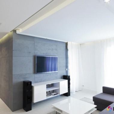 LUXUM - płyty betonowe bez sztucznych włókien w nowoczesnej aranżacji w salonie urządzonym w nowoczesnym stylu.Płyty S51 - szary ciemny cementowy klasa PREMIUM. Rozmiar 120x60x2cm