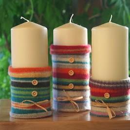 Wełniane świeczniki