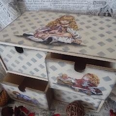 decoupage szkatułka retro dla dziewczynki