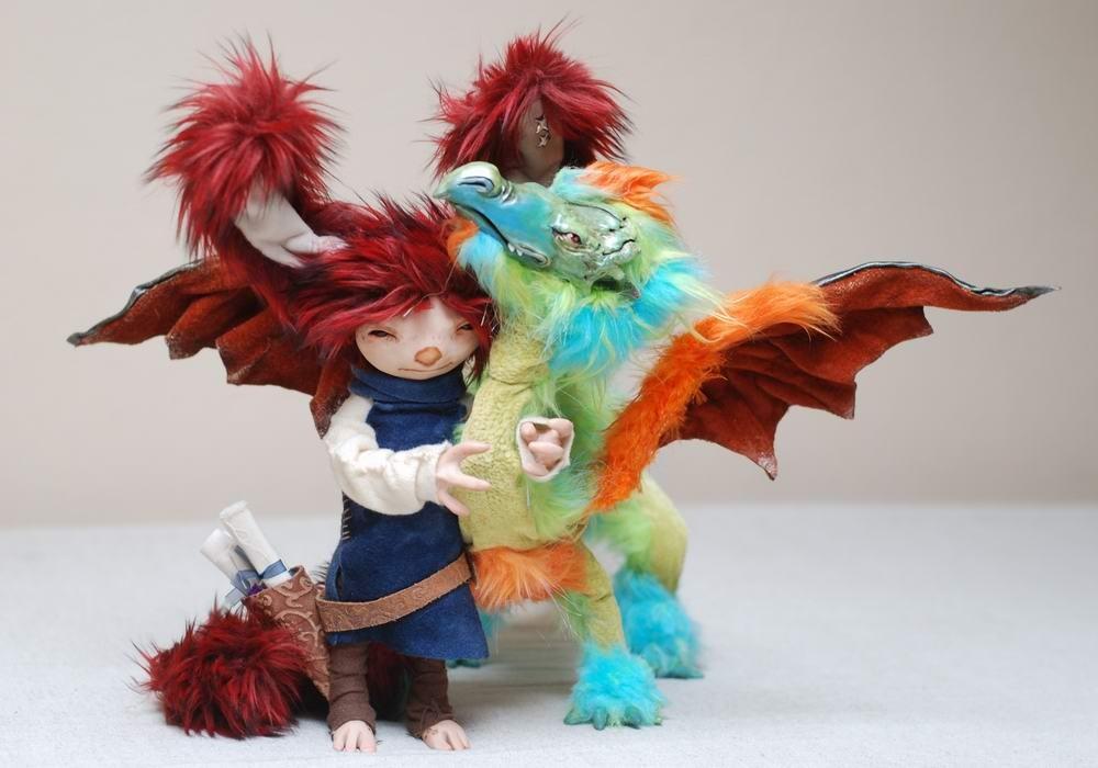 Pozostałe, lalki artystyczne - moja kolekcja - cd. - Spunk Dragon - autor Eden Carnes - http://www.mammalfeathers.com/images.html