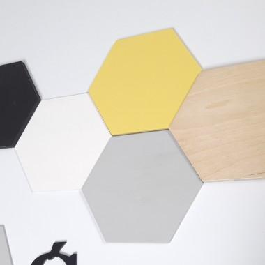 Dekoracja ścienna - drewniany heksagon - panele drewniane