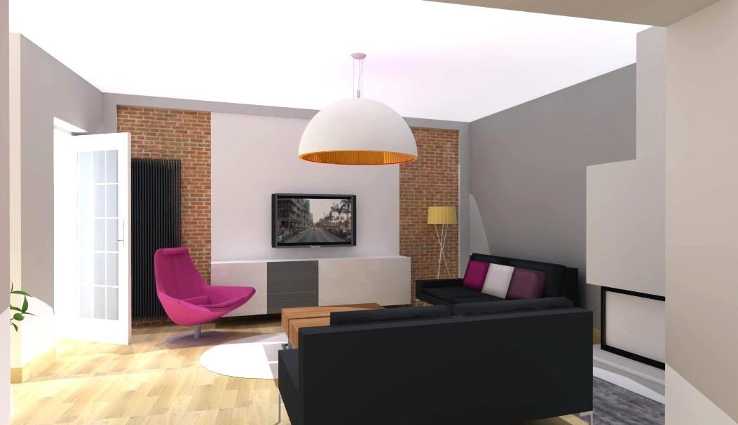 Architekci, Salon w Sosnowcu - ściana z cegły w salonie