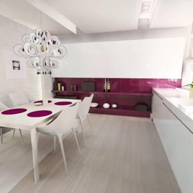 kuchnia biało-różowa