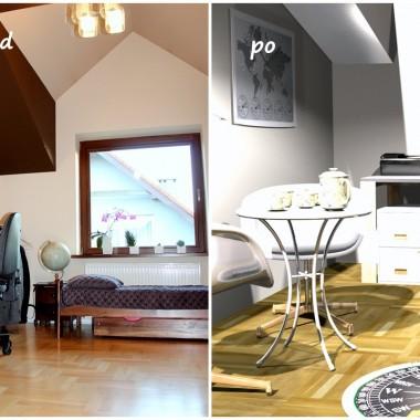 Projekt aranżacji biura w domu. Zmiana przeznaczenia pokoju na gabinet.Szczegóły, wraz z propozycją produktów i kosztoryesm na blogu: http://dekostacja.pl/2017/06/05/aranzacja-biura/