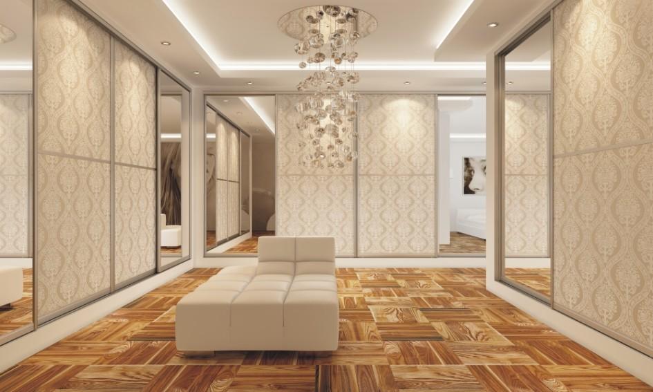 Pozostałe, lustra i szafy - piękne i nietypowe wnętrze z lustrami na frontach szaf