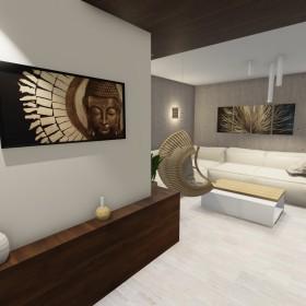 Salon beton i drewno GOTOWY