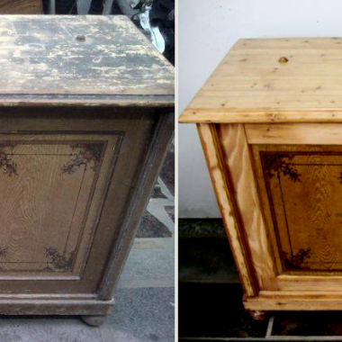 Sosnowa przedwojenna komoda. Zachowane stare, ręcznie malowane p