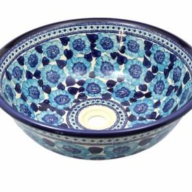 Rustykalna umywalka niebieskie kwiaty