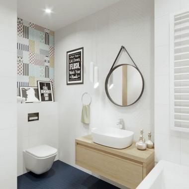 Projekt wnętrza łazienki w nowoczesnym stylu.