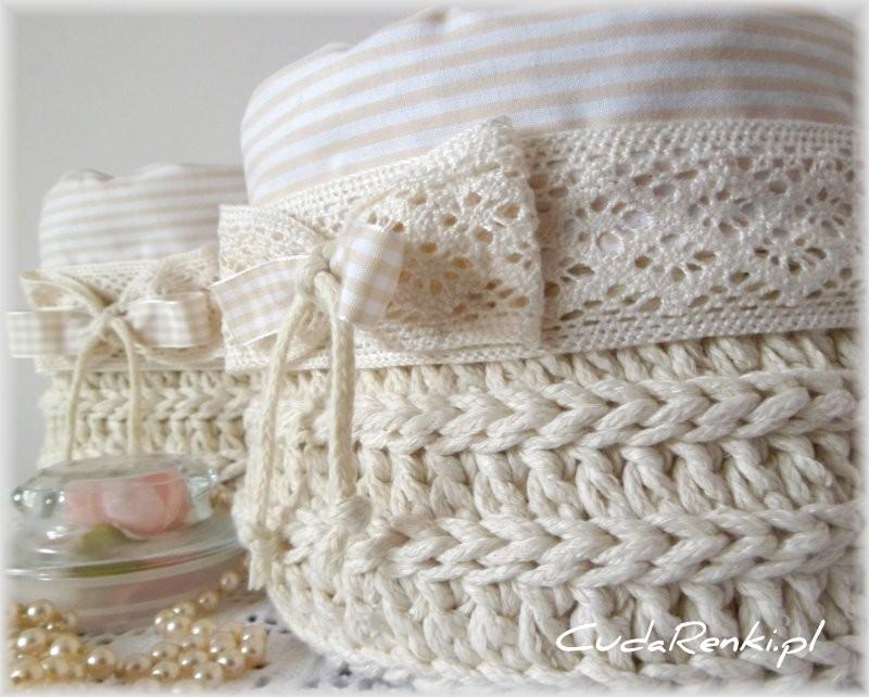 Dekoratorzy, Dekoracje ręcznie wykonane - komplet koszyków wykonanych na szydełku + bawełniane wypełnienie  Zapraszam - www.cudarenki.pl