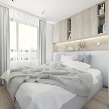 Sypialnia mieszkania 55m2 w Warszawie