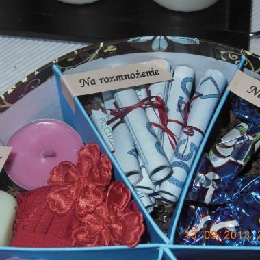 Witam!Przedstawiam pomysł na prezent ślubny. Kiedyś podpatrzony w necie. Młodzi chcą pieniądze i zamiast kwiatów kupon totolotka. Wszystko mieściłoby się w kopercie, a nie chciałam dawać samej koperty.Znalazłam pudełeczko, zrobiłam przegródki, napisy i jest. Myślę, że pomysłowy prezent =)