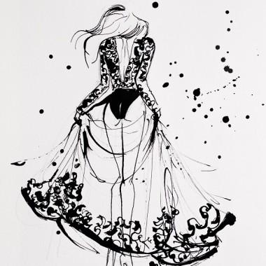 """Obraz na płótnie """"Black lace dress"""""""
