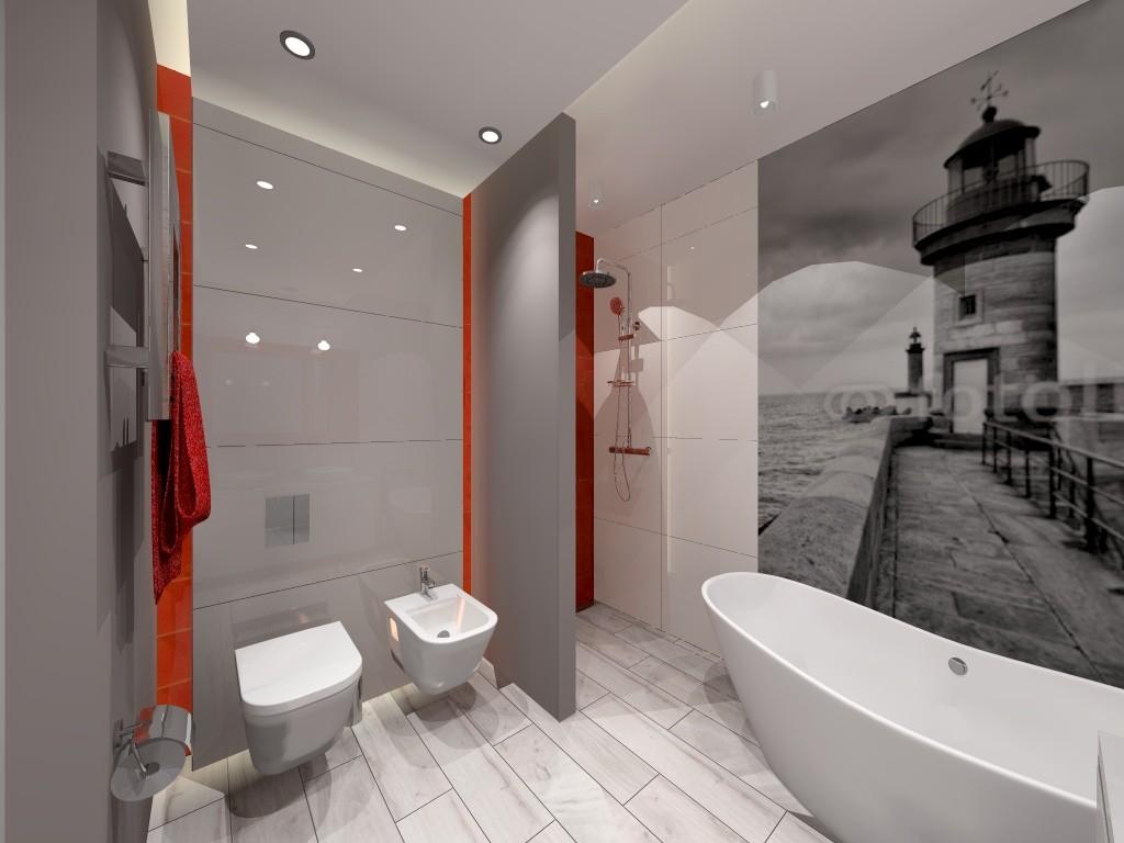 Zdjęcie 44 W Aranżacji łazienka Szaro Czerwona Deccoriapl