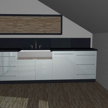 Pierwsze projekty - kuchnia w mieszkaniu na poddaszu