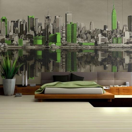 Pozostałe, Dekoracje z Nowym Jorkiem - Panorama Nowego Jorku w nowej odsłonie - sepia i zielone dodatki.