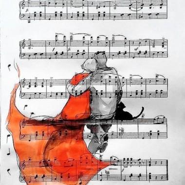 Akwarele na papierze z nutami artystki plastyka Adriany Laube