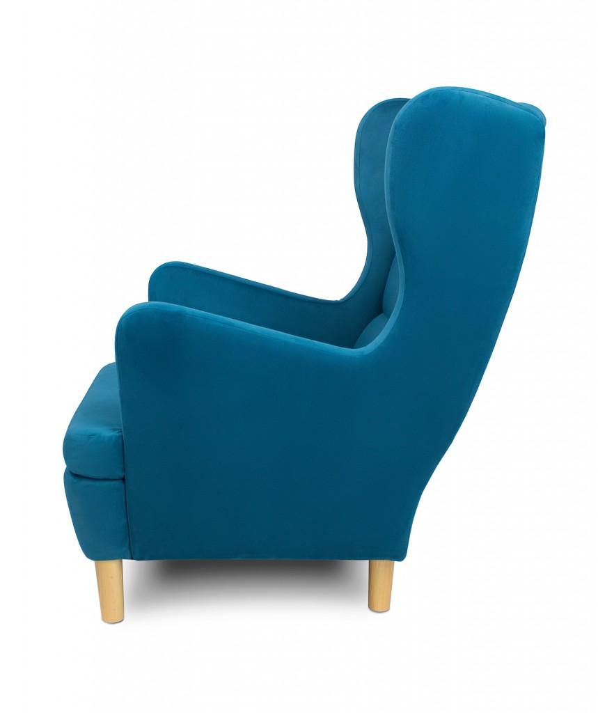 Kupię, Fotele tapicerowane Skandica - Niebieski Fotel uszak - Skandica Lars