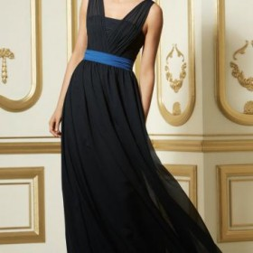 Stunning Chiffon Black Bridesmaid Dress From Queeniebridesmaid