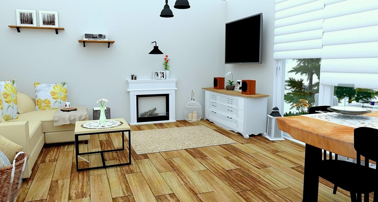 Salon, Projekt salonu - Projekt salonu w nowoczesnym stylu rustykalnym:http://dekostacja.pl/2018/03/06/projekt-salonu/