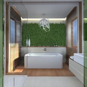 Łazienka z żywymi roślinami nad wanną