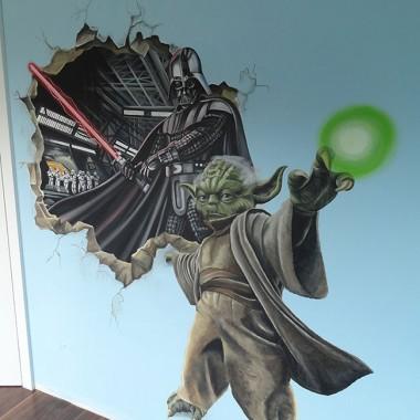artystyczne malowanie ścian, malowidła ścienne, malunki na ścianie, pokój dziecięcy, pokój dla dziecka, pokój dla dziewczynki, pokój dla chłopca, pokój dla dziewczynki, dekoracja ścian, Star Wars, Yoda, Gwiezdne wojny