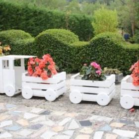 Pociąg Skrzynki Drewniane Donica Ogród Dekoracja HIT