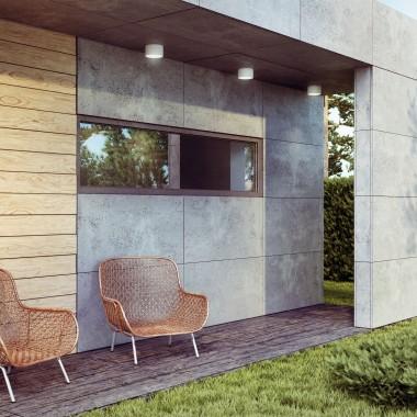 Nowoczesne elewacje z betonem architektonicznym Luxum. Uwagę zwraca połączenie płyt betonowych z elementami drewnianymi.