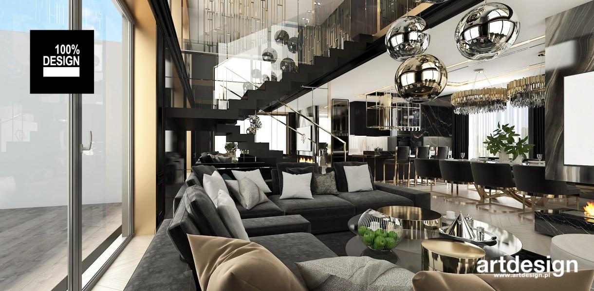Salon, Wytworna czerń ze złotymi akcentami   TAILOR-MADE HOME - Wnętrze domu, chociaż zaprojektowane w dość ciemnych kolorach, jest pełne jasnych refleksów. Powierzchnie w połysku, duże lustra i dekoracyjne detale odbijają światło i dodają lekkości. Głęboka czerń w połączeniu z akcentami złota i srebra kojarzy się z wyrafinowaną elegancją.