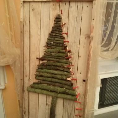 Ozdoba Bożonarodzeniowa, obraz na wejście do domu, recykling - paleta, rękodzieło.