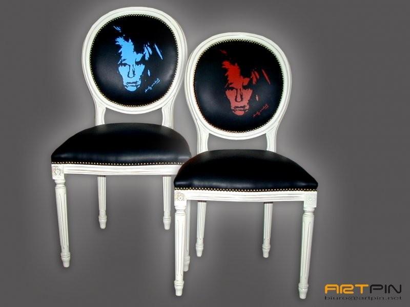 Dekoracje, ARTPIN - Projekt oraz wykonanie stylowego krzesła z połączeniem nowoczesnego designu  Motyw przewodni Andy Warhol