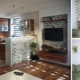 salon z kuchnią za dnia