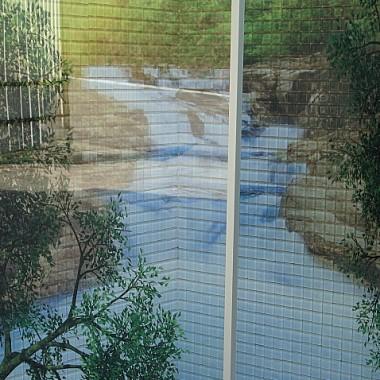 fotomozaika szklana w kabinie prysznicowej, w drzwiach można zatopić w szybie laminowanej dowolny wydruk.
