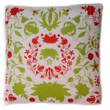 Poduszka - haft kaszubski (zielono-czerwona)