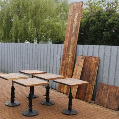 Stoliki industrialne i blaty ze starego drewna