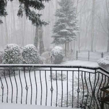 Dziś koło 9 tak wyglądał świat za moim oknem ...sypało niemiłosiernie :(