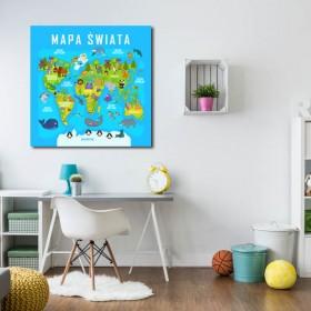 Obraz do pokoju dziecka MAPA ŚWIATA