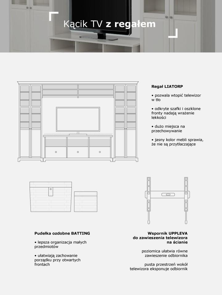 Ściana z telewizorem  i zabudową regałową – porady, jak zaaranżować - infografika